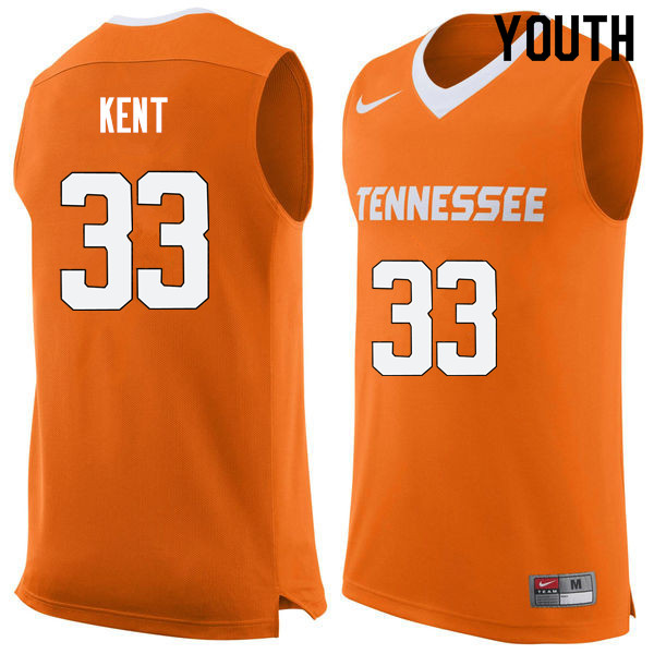 Youth #33 Zach Kent Tennessee Volunteers College Basketball Jerseys Sale-Orange